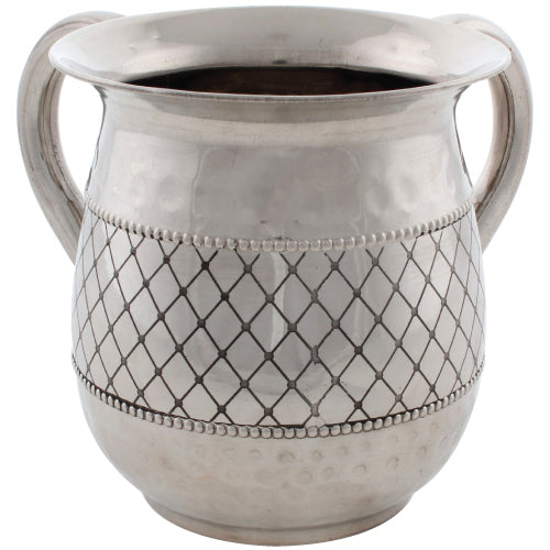 Stainless Steel Washing Cup 12cm - Silver Dotted Design - II