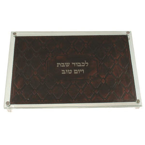 Glass Challah Tray 40*28cm with Leather