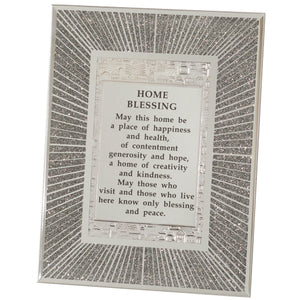 "Glass Miror Glitter English Home Blessing 22X17 cm- ""Lines"""