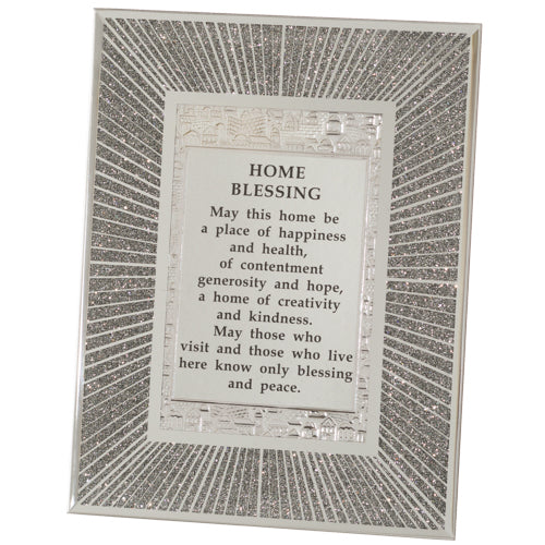 Glass Miror Glitter English Home Blessing 22X17 cm-
