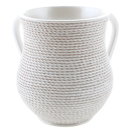 Elegant Polyresin Washing Cup 14 cm - White Rope
