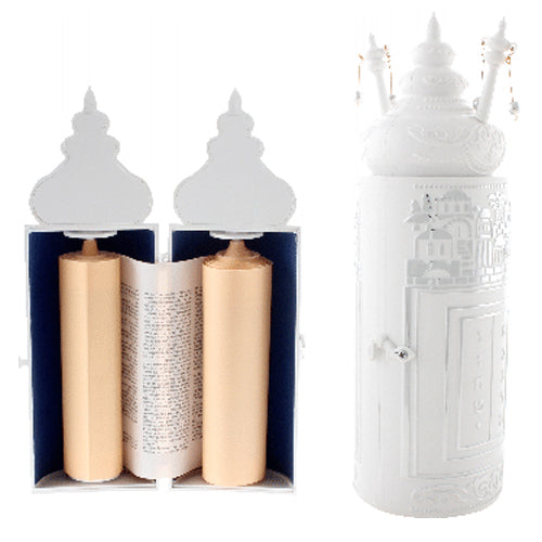 Plastic Torah Scroll 28cm- in Silvered Jerusalem Theme -Sephardic