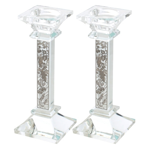 Crystal Candlesticks 18cm- with 7 Species Plaque