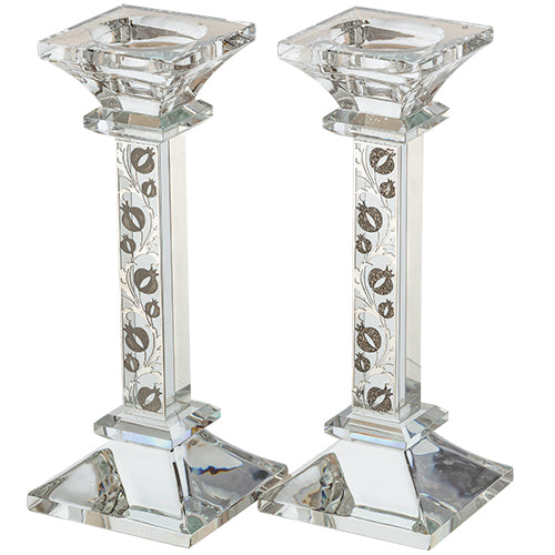Crystal Candlesticks 18cm- with Pomegranate Plaque