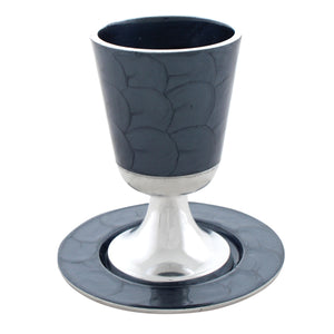 Aluminium Kiddush Cup 11 cm with Saucer- Gray