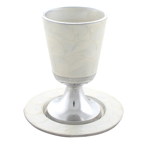 Aluminium Kiddush Cup 11 cm with Saucer- White