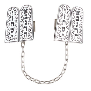 "Nickel Tallit Clip ""Luchot Habrit "" with Chain"