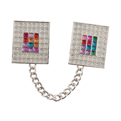"Nickel Talit Clip with Chain- ""Choshen"