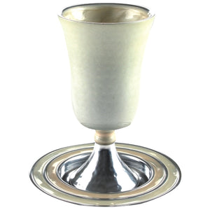 Aluminium Kiddush Cup 16cm with Saucer- Pearl Color