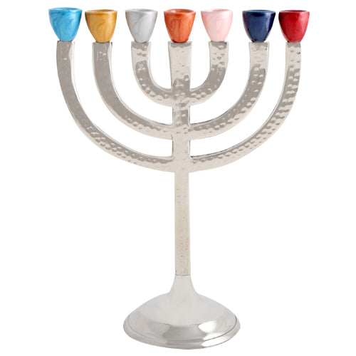 Aluminium Menorah 7 Branches 28cm- Multicolored