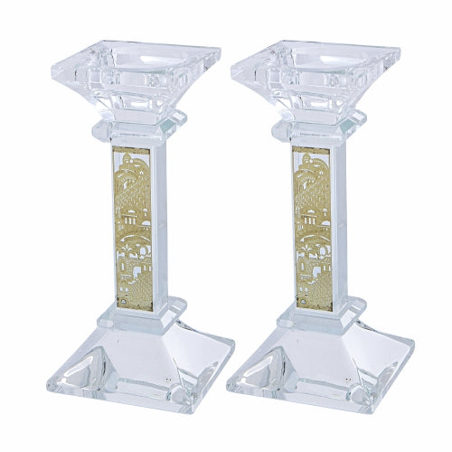 Pair Crystal Candlesticks 15 cm with Laser Cut Metal Plaque - Gold