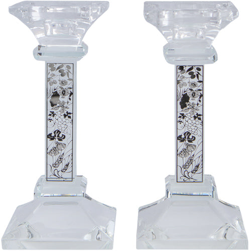 Pair Crystal Candlesticks 15 cm with Laser Cut Metal Plaque- Seven Species