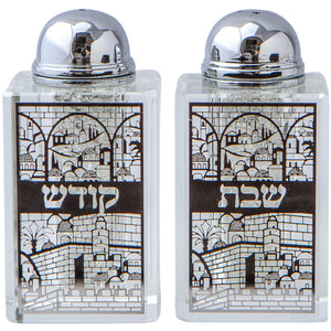 Crystal Salt Shaker 8*4cm- Laser Cut Metal Plaque- Jerusalem Motif