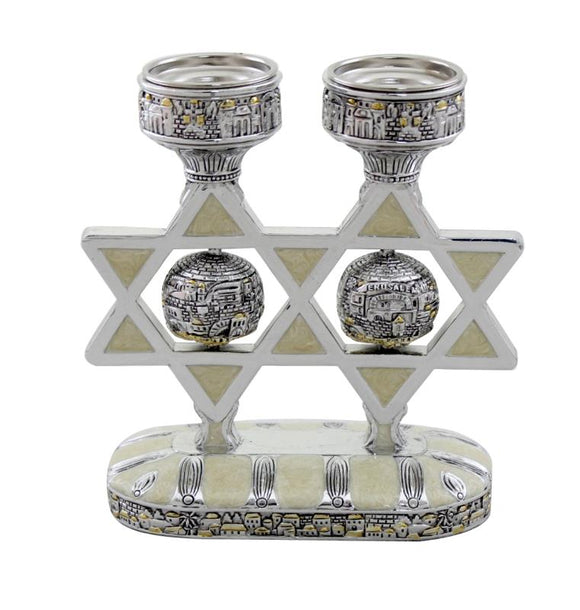 A Pair of Silver Polyresin Star of David Candlestick with Enamel 16 cm