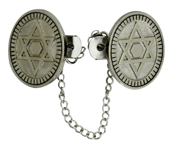 Nickel Tallit Clips 16 cm- Star of David with Chain