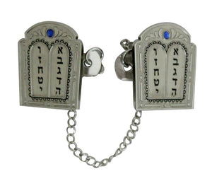 Nickel Tallit Clips 16cm- Ten Commandments with Chain