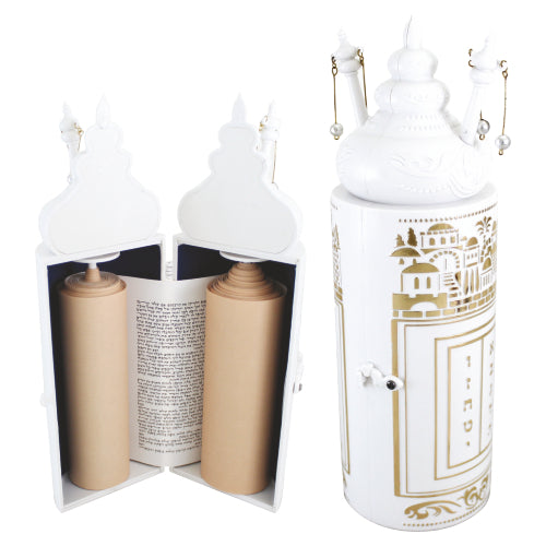Plastic Torah Scroll 28cm- in Golden Jerusalem Theme -Sephardic