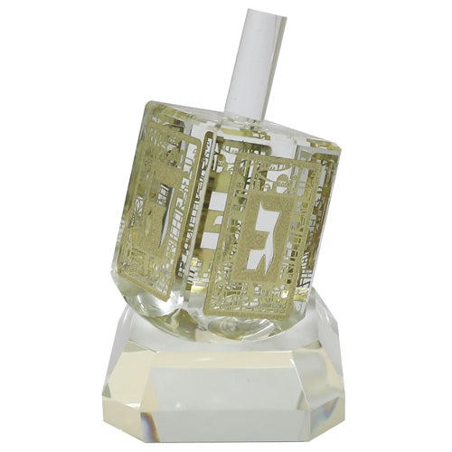 Crystal Dreidel 12cm with Metal Plate- N.G.H.POH
