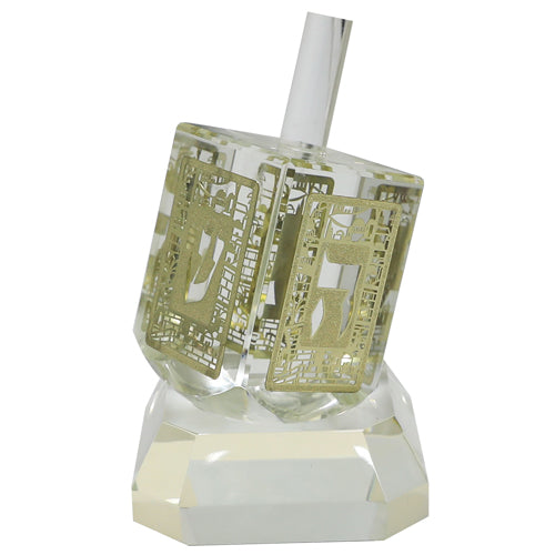 Crystal Dreidel 12cm with Metal Plate- N.g.h.sham - Gold