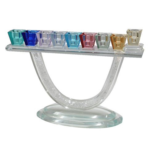 Crystal Menorah 27X19 cm with Multicolored Branches