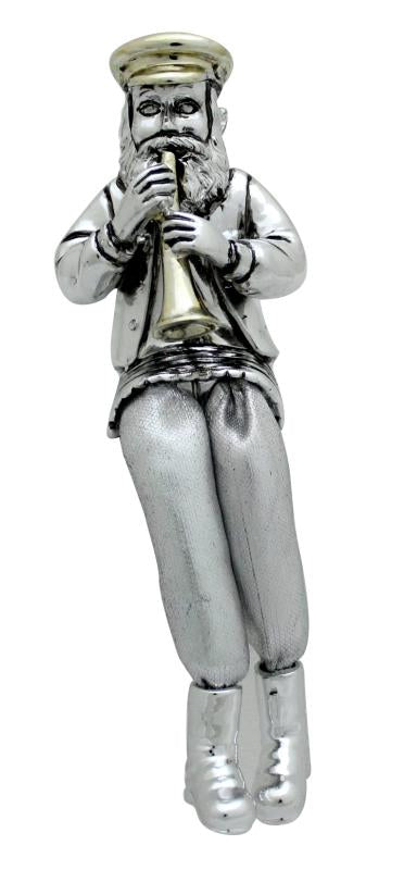 Silvered Polyresin Hassidic Figurine with Cloth Legs 15 cm- Clarinet Player