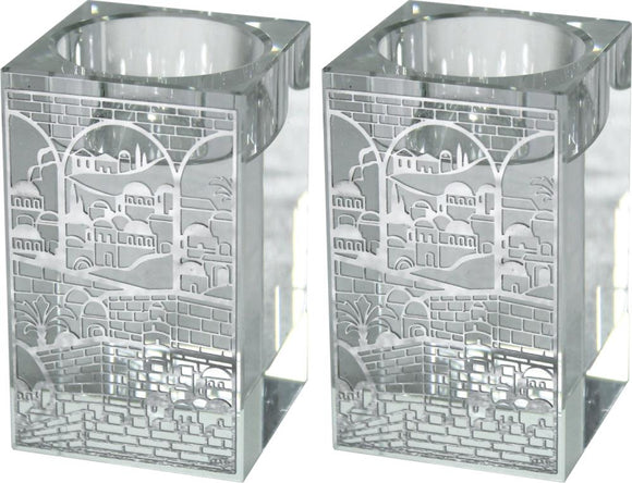 Square Crystal Candlesticks 8cm with Metal Plaque-