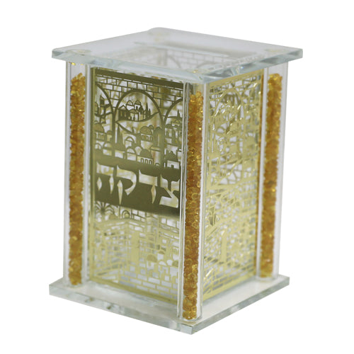 Crystal Tzedakah Box with Metal PlateS 13*9cm