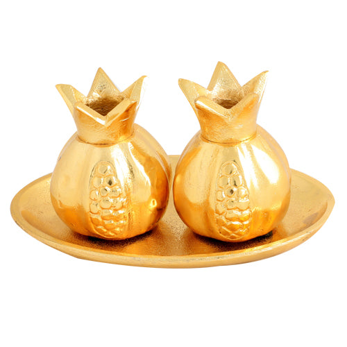 Aluminium Candlesticks 9 cm with Tray 17*11cm- Pomegranate