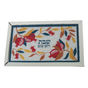 GLASS COLORFUL CHALLAH TRAY 45*29 CM- POMEGRANATE