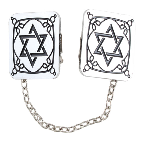 Nickel Tallit Clips Star of David 3*3cm with Chain