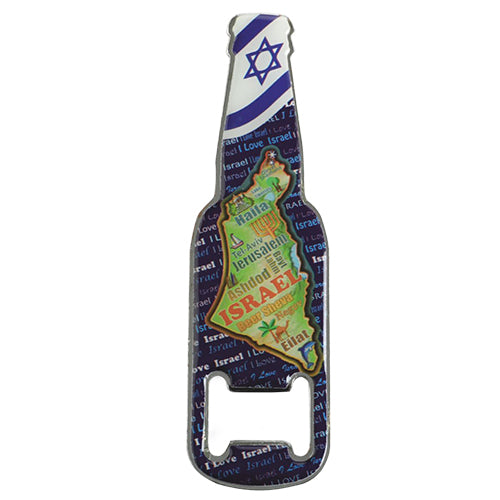 METAL WITH EPOXY MAGNET WINE BUTTLE OPENNER 13 CM, ISRAEL MAP