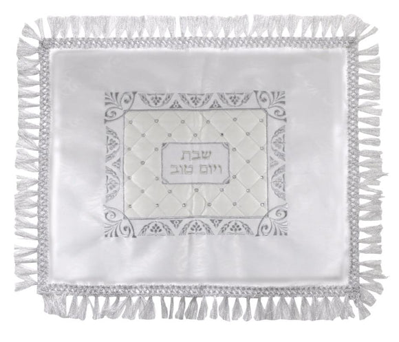 Elegant Challah Cover 49x59 cm with Silver Embroidery Laid with stones- Grapes