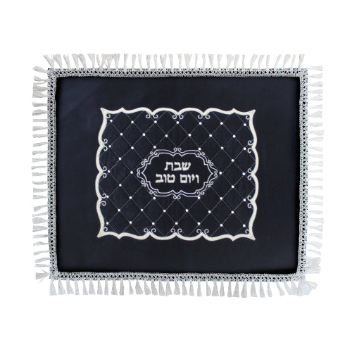 Velvet Challah Cover with Silver Embroidery 50*60cm- Ornate Design