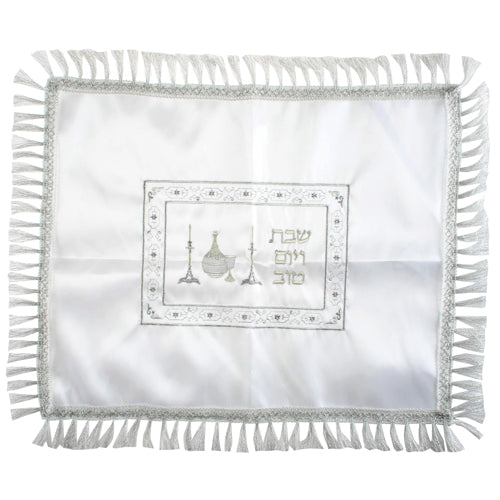 Satin Challah Cover 58*48 cm- Bottle of Wine and Shabbat Candles