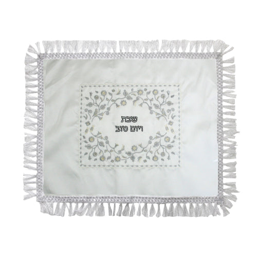 Satin Challah Cover 49X58 cm- with Silver Embroidery