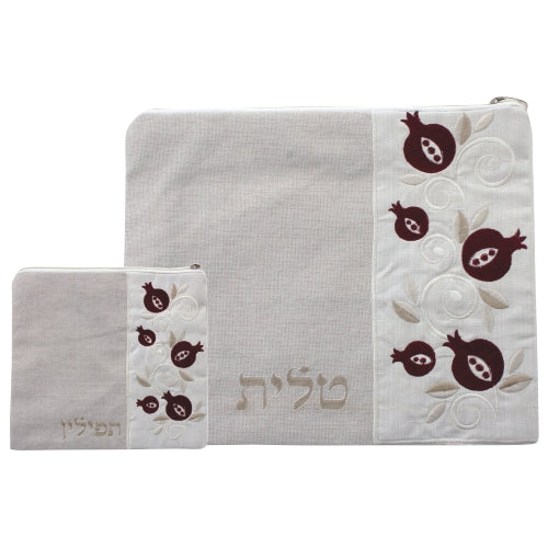 Linen Tallit & Tefillin Set 35*29 cm, Beige with Embroidered Design- Pomegranate