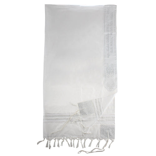 Acrylic Tallit Size 55- 130*185cm White & Silver Striped Design