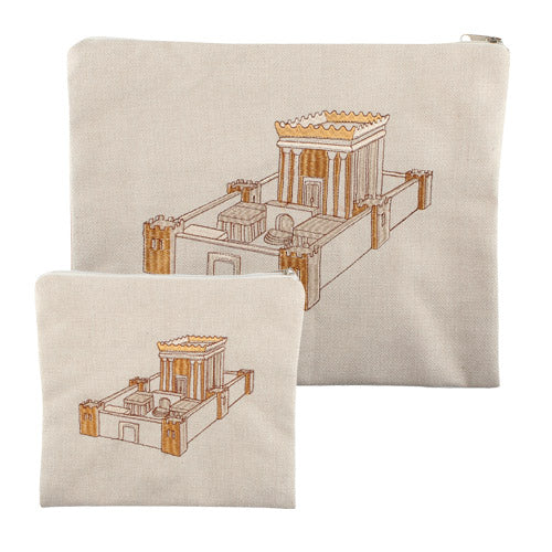 Linen Talit-Tefilin Set 29X35 cm- Beige with Gold