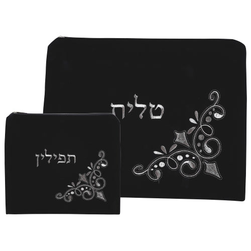 Velvet Tallit - Tefillin Set 36*29, Dark Blue with Embroidered Design - II