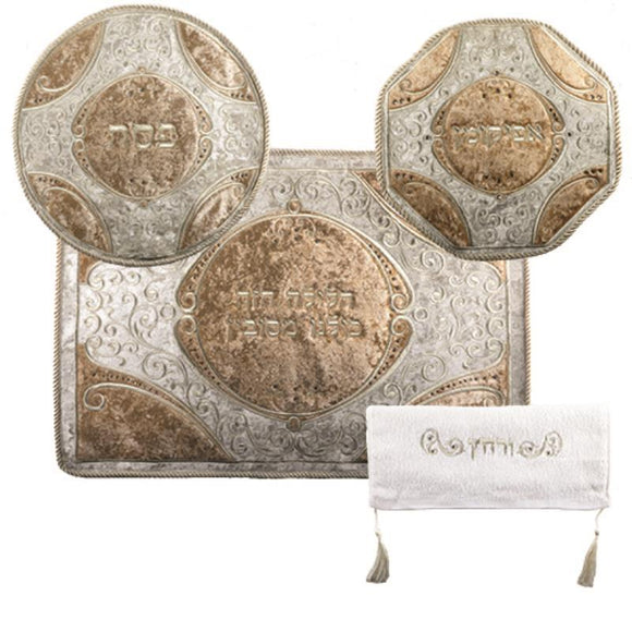 C LUXURY PASSOVER SET WITH STONES: PASSOVER, AFIKOMAN AND PILLOW COVERS WITH TOWEL