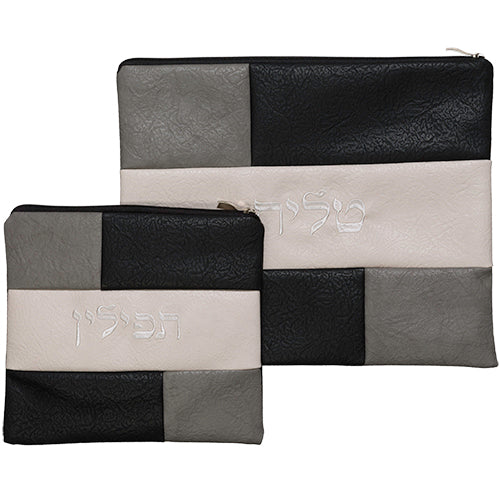Luxurious Faux Leather Tallit & Tefillin Set 29X36 cm, with Embroidered Design