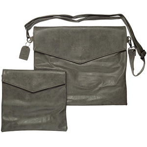 FAUX LEATHER TALIT & TEFILIN SET WITH CARRING STRAP 32X38 CM- LIGHT GRAY