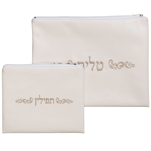 Leather Like Talit - Tefilin Set 36*29 cm, with Embroidery - Cream