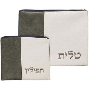 Leather Like Talit - Tefilin Set 36*29 cm, with Embroidery - B & W
