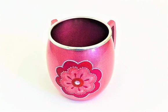 Small Metal Painted Washing Cup - Pink Flower