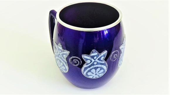 Small Metal Painted Washing Cup - Purple