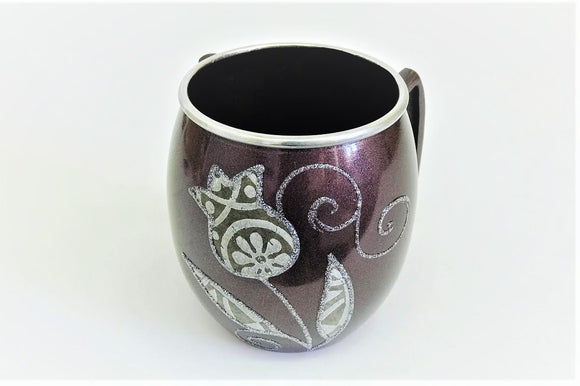 Small Metal Painted Washing Cup - Bordeaux