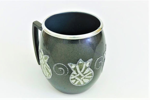 Small Metal Painted Washing Cup - Gray