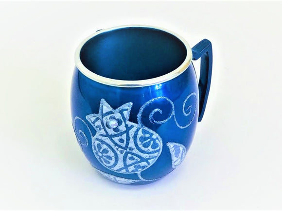 Small Metal Painted Washing Cup - Blue