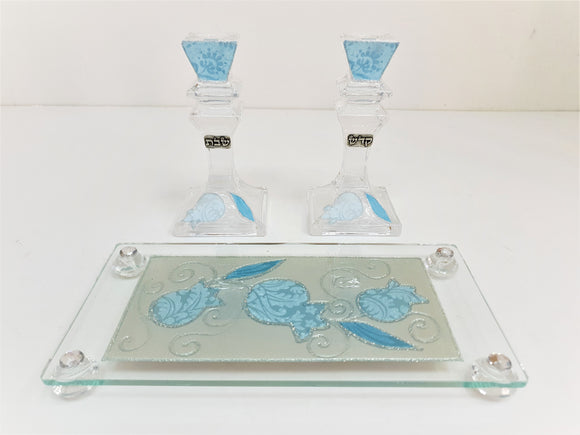 Crystal 18 cm Candlesticks Set with Tray - Blue Pomegranate